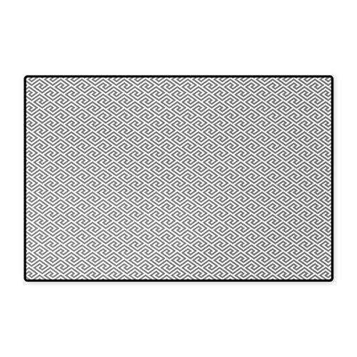 Greek Key,Door Mats,Geometric Lines Abstract Pattern with Antique Motif in Grey Labyrinth Maze,Bath Mat Bathroom Mat with Non Slip,Pale Grey White 24