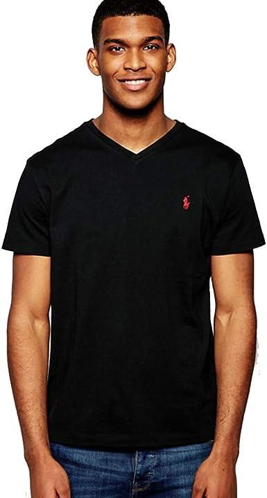 Ralph Lauren Camiseta básica V-Neck Custom Slim Fit (S, RL Black ...