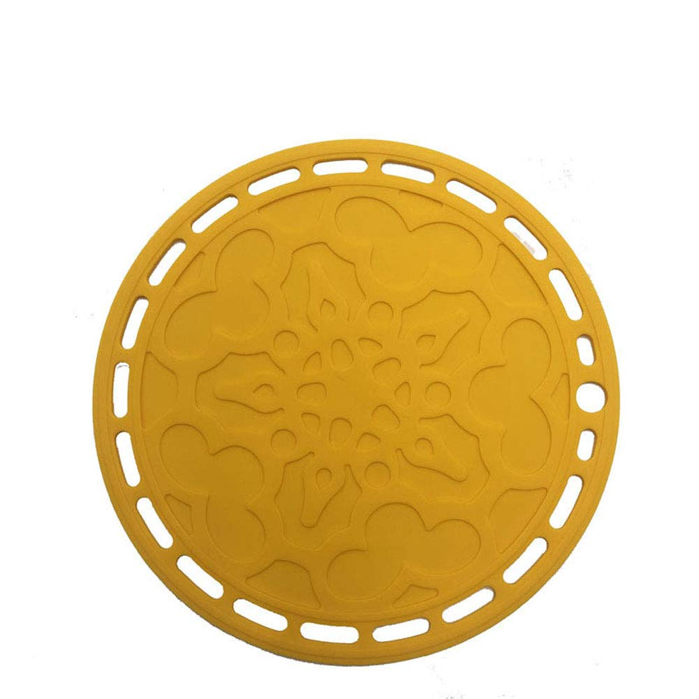 CDZJP Non Slip Trivet Mat Set of,20Cm in Diameter,Kitchen Anti-Scalding Coaster Multi-Use Flexible Coasters (4 Pack),Yellow