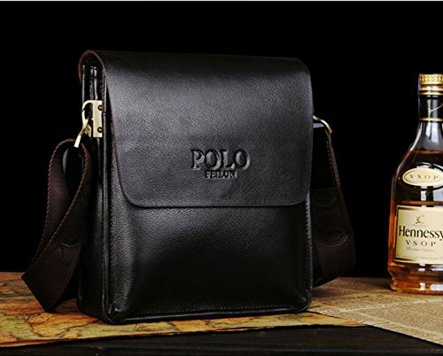 POLO FEILUN Classic Vintage Genuine Leather Men's Briefcase Business Bag Composite Casual Shoulder Messenger Satchel Bags for everday use 9