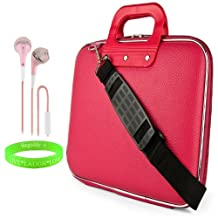 """Cady Messenger Cube PINK MAGENTA Ultra Durable Tactical Leather -ette Bag Case fits HP Slate Pro 12"""" Tablet + Pink Hands-free Earphone Headphones with Microphone"""