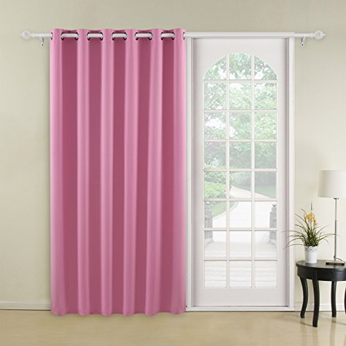 Deconovo Blackout Curtains Thermal Insulated Wide Width Curtains Grommet Room Darkening Curtains for Bedroom 80 x 84 Inch Pink 1 Panel For Sale