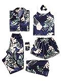 SheIn Women's 7pcs Pajama Set Cami Pjs with Shirt and Eye Mask Medium Navy#1