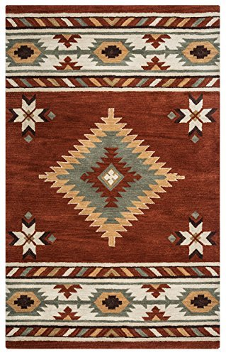 Rizzy Home Southwest Collection Wool Rust/Khaki/Navy/Sage/Off White Southwest/Tribal Area Rug 3' x 5'