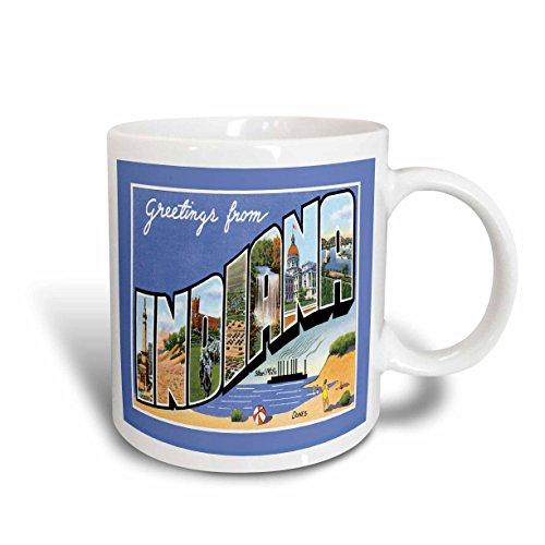 3dRose mug_169886_2 Greetings from Indiana Scenic Postcard Reproduction Ceramic Mug, 15-Ounce