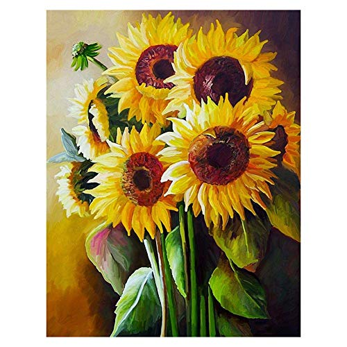 WISREMT DIY Diamond Painting Kit Full Drill Embroidery Cross Stitch Arts Craft Canvas Wall Home Decor Craft for Adults or Kids 30x40CM (Sunflower, 11.8