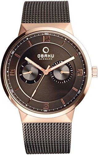 Obaku Men's 40mm Black Steel Bracelet Rose Gold Plated Case Quartz Brown Dial Chronograph Watch V170GMVBMB