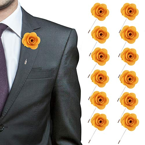 in Rose for Wedding Boutonniere Stick - Set of 12 PINS (Gold) ()