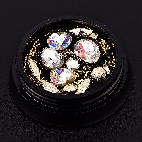 Mixed Diamond Rhinestones Mini Beads Cross Gemstone Circle 3D Nail Art Glitter Crystal Nails Decorations New Arrive Jewelry Box(crystal ab)