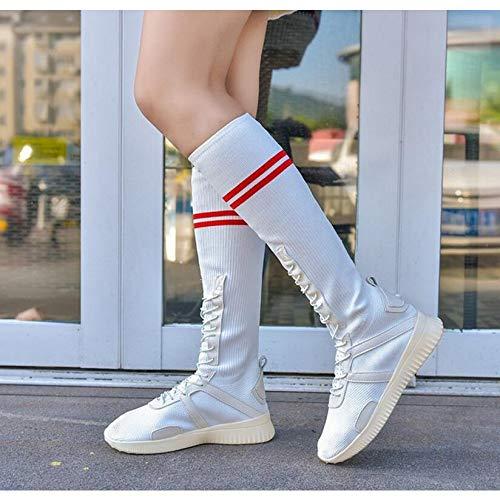 Para Estudiante Rodilla Ocio Zapatos Encima El Cordones Ayuda Femeninas Con Blanco Botas Mujer De Alta Por Pingxiannv La Moda ORqPqS