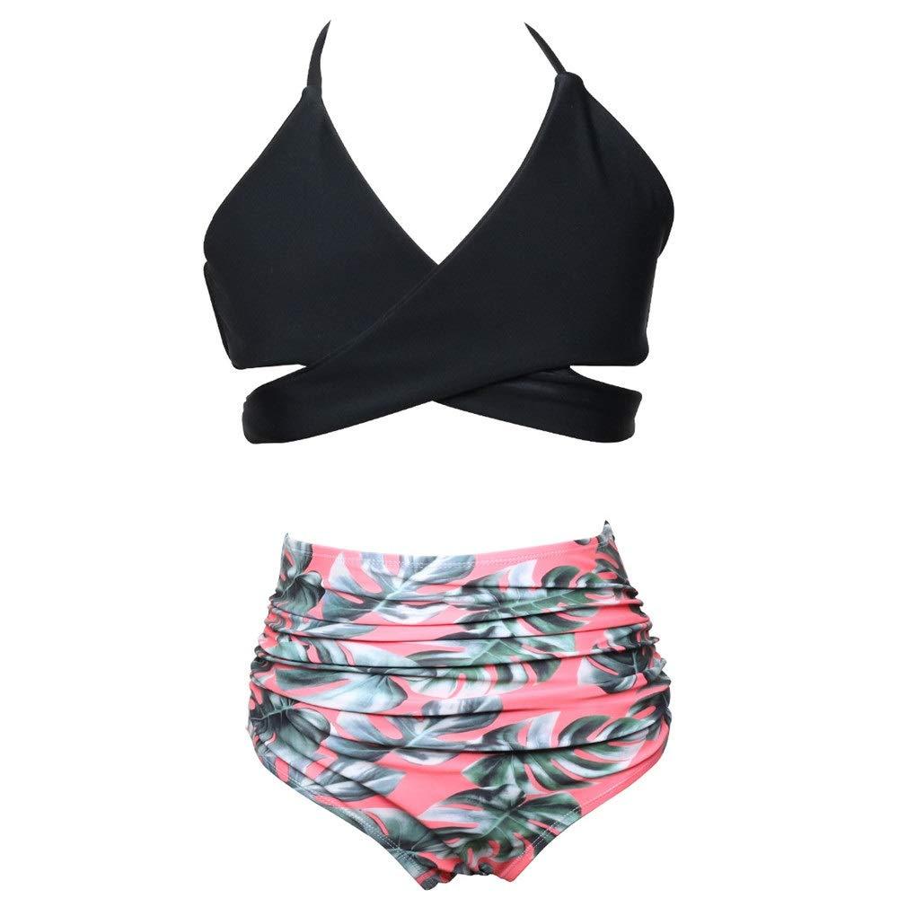 Cicongzai Maillot de Bain à Volants Bikini Taille Haute mère et Fille Maillot de Bain en Nylon de Couleur Assorcravate (Couleur   12, Taille   128)