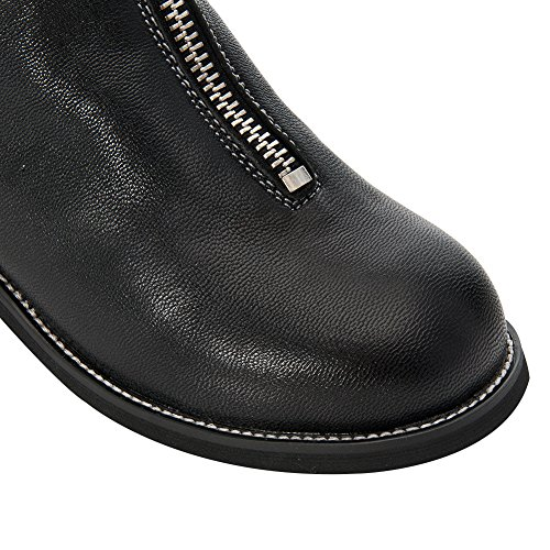 Heel rismart Round Boots Black Leather Toe Women's Calf Mid Zip Low Riding RHEx6FqHr
