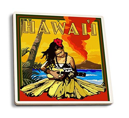 (Lantern Press Hawaii - Hula Girl and Ukulele (Set of 4 Ceramic Coasters - Cork-Backed, Absorbent) )