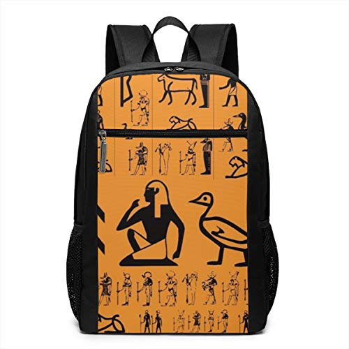Casual Rucksack Large Capacity Multipurpose Anti-Theft Carry-On Bag Backpack for Gym Outdoors Bicycle - Ancient Egypt Clipart Orange, Travel Hiking Daypack ()