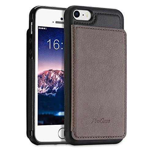 ProCase iPhone SE / 5S ケース スリム キックスタンド フリップ革製バック 財布型ケース スマートカバー バンパー バックカバー カードスロット Apple iPhone SE 5S 5C 5に対応 –カーキ