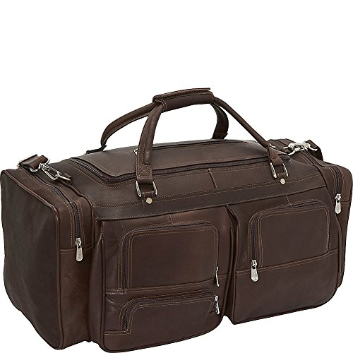 Piel Leather 24In Duffel with Pockets, Chocolate, One Size by Piel Leather