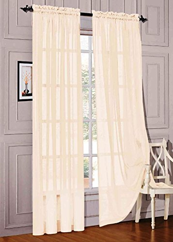 "WPM 2 Piece Beautiful Sheer Window Elegance Curtains/drape/panels/treatment 60""w X 84""l (Beige)"