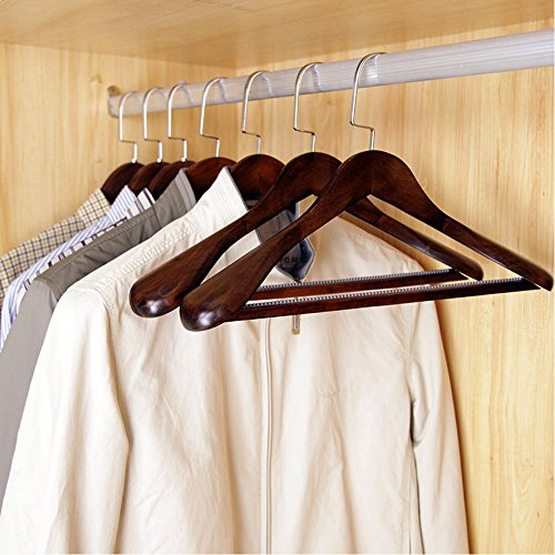 Lohas home 6 pack solid wood extra wide shoulder coat for What to do with extra clothes hangers