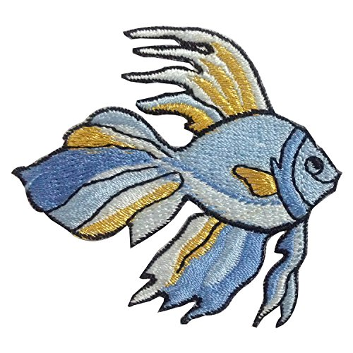 Fighting fish Animal Iron on Patches Embroidered