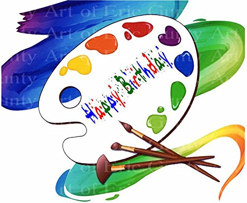 1/4 Sheet - Artist Pallet Happy Birthday - Edible Cake Cupcake Party Topper (Artist Sheets)