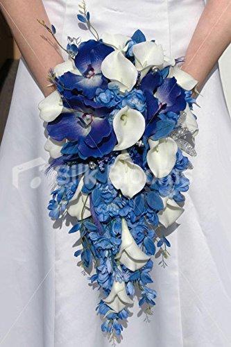 Amazon.com: Ivory Lily & Blue Delphinium Vanda Orchid Bridal Wedding ...