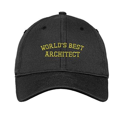 Worlds Best Architect Twill Cotton 6 Panel Low Profile Hat Dark Denim (Architect Denim)