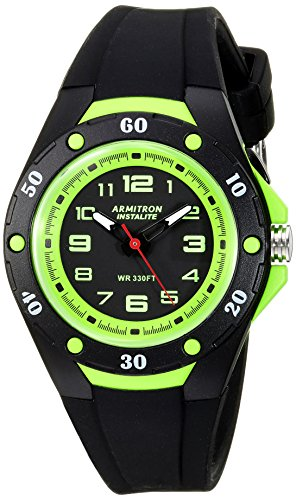 Armitron Sport Unisex 25/6428BLG Easy To Read Dial Black Silicone Strap Watch