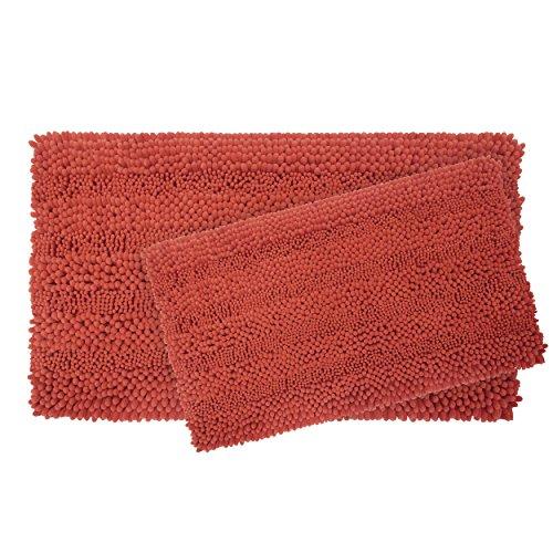 (Laura Ashley Astor Striped Plush Chenille 2-Piece Bath Mat Set, Coral)