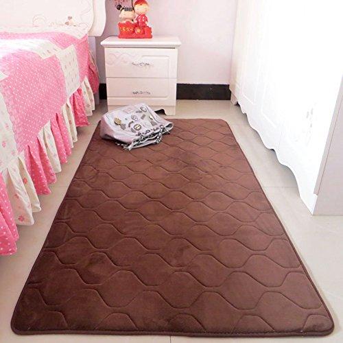 Hoomy Coffee Floor Runners for Bedroom Soft Foam Rugs Geometric Thichen Floor Runner for Bed Side Nonslip Coral Fleece Floor Mat - 2.5' Bed