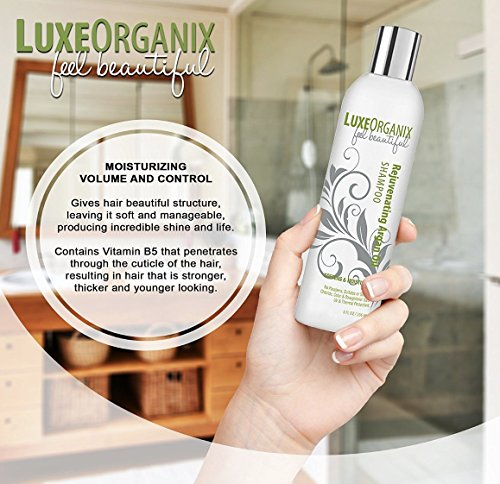 Moroccan Argan Oil Shampoo and Conditioner, SLS Sulfate Free + Cruelty Free, Best for Damaged, Dry, Curly or Frizzy Hair - Thickening for Fine/Thin Hair, Safe for Color Treated, Keratin Treated Hair by LuxeOrganix (Image #7)