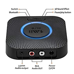 1mii Bluetooth 5.0 Receiver, Bluetooth Audio Adapter with 3D Surround aptX Low Latency for Streaming Music from…