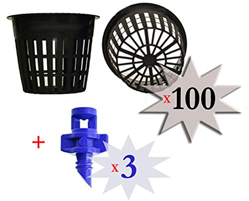 100 pack - 3 inch Round HEAVY DUTY Net Cups Pots WIDE LIP Design - Orchids • Aquaponics • Aquaculture • Hydroponics • WIDE Mouth Mason Jars • Slotted Mesh + FREE Micro Sprayers!! by Cz Garden Supply