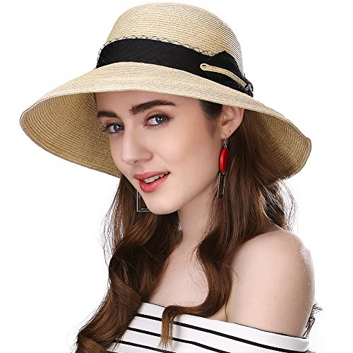 f774b72ef07 Galleon - Siggi Ladies Floppy Summer Sun Beach Straw Hats SPF Foldable  Bucket Cloche Hat 56-59cm Beige