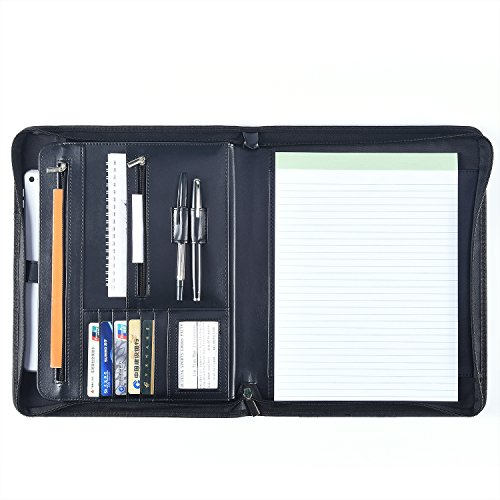 TCPF Business Portfolio with Writing Pad, Professional Document Storage with Zippered Closure, 8.5 x 11.5 inches Tablet Sleeve, Resume Portfolio, Business Padfolio, Presentational Portfoilio