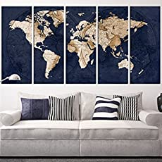 Amazon navy blue world map canvas art large wall art print navy blue world map canvas art large wall art print framed world map wall gumiabroncs Image collections
