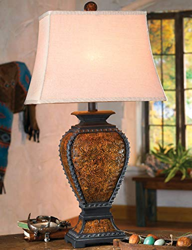 BLACK FOREST DECOR Tooled Leather Old West Rustic Lamp - Western Lighting Fixtures ()