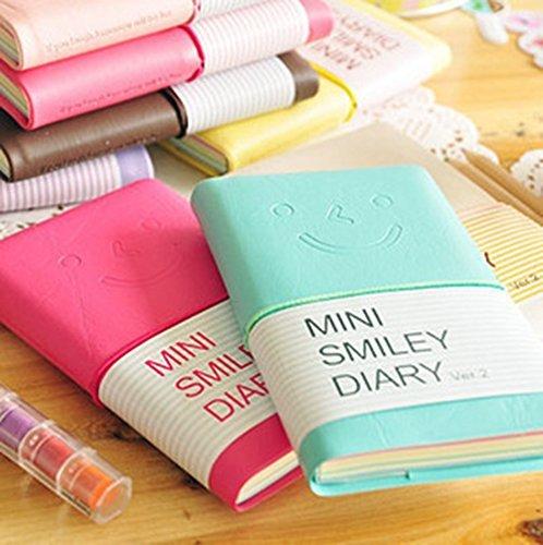 Mttheaw 1Picece Korean Stationery mini smiley Diary notebook Journal con custodia in pelle, regalo perfetto per studenti e bambini, colore casuale