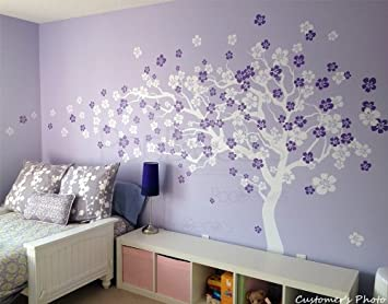 PopDecors   Flower Tree Wall Decal Floral Decals Girlu0027s Decal Baby Room  Decal  Cherry Blossom