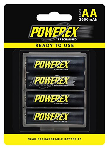 Powerex Precharged Rechargeable AA NiMH Batteries (1.2V, 2600mAh) - 4-Pack (MHRAAP4)