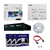 ASUS BW-16D1HT 16X Blu-ray CD DVD Internal Burner Drive Retail Box + Free 15pk Mdisc BD + BD Suite Disc + Cables & Mounting Screws