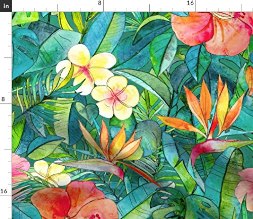 Tropical Flowers Fabric - Classic Garden in Watercolors 2 Extra Large Print Floral Jungle Lush Hibiscus Print on Fabric by The Yard - Organic Cotton Knit for Baby Blankets Clothing - Shirt Hawaiian Fabric