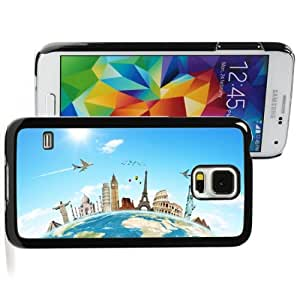 Samsung Galaxy S5 Hard Back Case Cover Color Monuments Airplane Travel the World (Black)