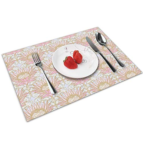 Luase Blush King Protea Art Deco (Lilac) Table Placemats for Dining Table,Washable Placemat Heat-Resistant Set of 6(12X18 inch)