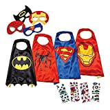 LAEGENDARY Super Hero Capes Kids Toys – Dress Up Clothes Boys – Superhero Party Supplies Birthday – 4 Kids Costumes Glow in The Dark Spiderman Logo