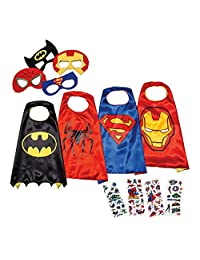 LAEGENDARY Super Hero Capes for Kids Toys – Halloween Dress Up Clothes for Boys – Superhero Party Supplies Birthday – 4 Kids Costumes with Glow in The Dark Spiderman Logo