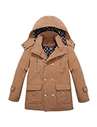 XiaoYouYu Big Boy's Cool Stand Collar Hooded Peacoat Jacket