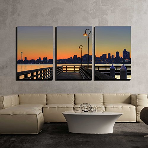 Morning Framed Poster - wall26 - 3 Piece Canvas Wall Art - Downtown Skyline from The Pier at Sunrise - Modern Home Decor Stretched and Framed Ready to Hang - 24