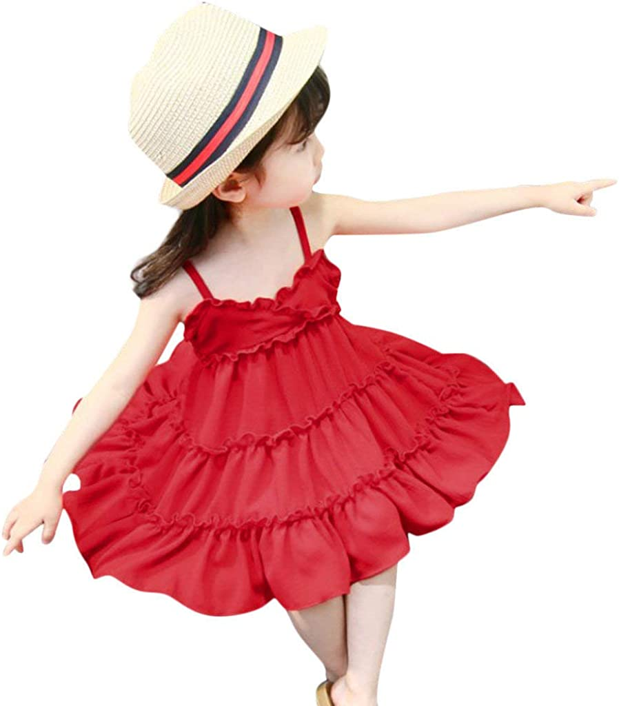 Fanteecy Dress for Baby Girl Summer Sleeveless V Neck Spaghetti Strappy Layered Ruffle Swing Dress Casual Toddler Kid Clothes