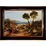 Overstockart Jmw2410-Fr-240G24X36 Joseph William Turner The Bay of Baiae with Apollo and The Sibyl with Opulent Frame, Dark Stained Wood Gold Trim