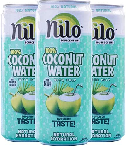 NILO 100% Pure Coconut Water - Naturally Hydrating Electrolyte Drink - Smart Alternative to Coffee, Soda, and Sports Drinks (Pack of 12) 11.2 Ounce